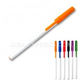 Stick ballpoint pen with colored cap