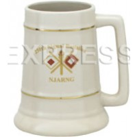 28 oz. Huge Ceramic Stein with Gold Bands